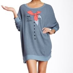 Wildfox road trip sweater dress I'm a stewardess New Wildfox sweater dress Tags attached Gray colored Says in a stewardess Size medium Longer length and super comfortable material! Wildfox Sweaters Crew & Scoop Necks