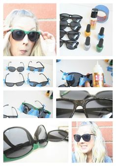 DIY sunglasses upcycle with nail polish.i hope it works! [it worked! Cheap Accessories, Fashion Accessories, Diy Nagellack, Rosa Rose, Striped Fabrics, How To Make Beads, Hippie Style, Refashion, Diy Beauty