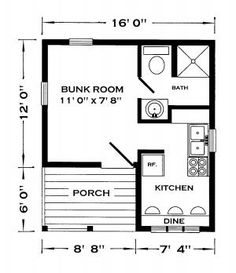 WHITEHORSE F/P**door into kitchen no dine just a bed/sofa. bathroom door into kitchen. bunk room for cats/dogs/me Tiny Guest House, Guest Cabin, Tiny House Cabin, Tiny House Design, Small House Plans, The Plan, How To Plan, Lofts, Bungalow