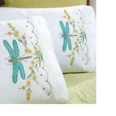 I am going to buy these aqua dragonfly pillow cases to embroider (Bucilla Dragonfly Dreams Stamped Embroidery Pillowcases 2 cases for $13.59)
