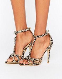 7cc7584f5d377 Shop Public Desire Betsy Snake Print T Bar Heeled Sandals at ASOS.