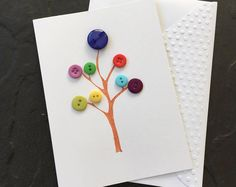 Button Tree. Hand made Button Tree 3D Blank Card. Mother's Day, Birthday, Thinking of You. Can be sent direct. SC05