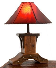 Reclaimed Wood Table Lamp by Woodland Creek Furniture.