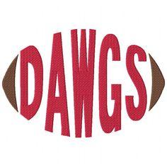 Dawgs Football Word Machine Embroidery Design