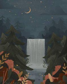 Jan 14, 2020 - Forest illustration, moon and stars. Digital illustration by Raahat Kaduji. raahatkaduji.com // instagram and twitter: @raahatventures