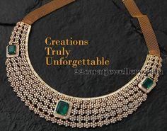 Diamond Choker by Creation Jewellery Ruby Jewelry, India Jewelry, Wedding Jewelry, Diamond Jewelry, Jewelery, Diamond Necklace Set, Diamond Choker, Emerald Diamond, Diamond Design
