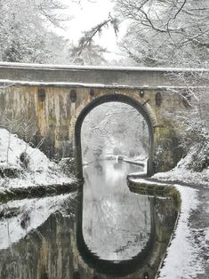 Canal Bridge in the Snow, Brewood, Staffordshire, England.