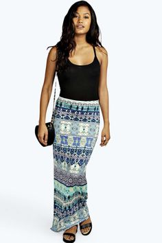 Blue Border Paisley Slinky Maxi Skirt blue
