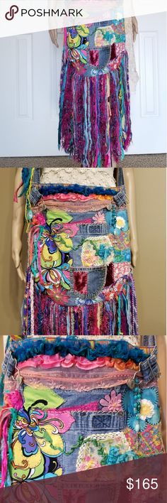 Boho hippie, festival handmade fringe bag, purse OOAK, New handmade bag. All of my bags are created with attention to detail. This one was created from a denim overall top. Multi vintage fabrics, Sari ribbon, denim fringe, embroidery, trims. MaidenParris Bags Hobos