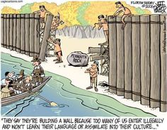 Double standard?  Hypocrisy?  Both actually.  It's embarrassing how our country was founded, but now we want walls?  After how christian assholes desecrated the native Americans?