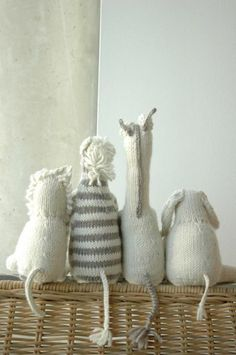 Love these knit animals in white, it's a look that never goes out of style! Try one of our knit toy patterns (like this Tiger Cat: http://lby.co/WeWtjN) with white and grey Martha Stewart Crafts Extra Soft Wool Blend for a beautiful and classic toy.