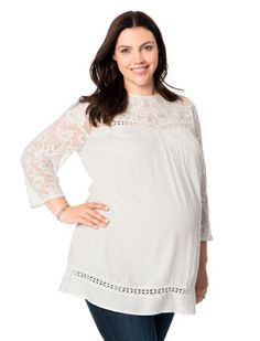 fa44f24ecc1dc Motherhood Maternity Plus Size 3 4 Sleeve Lace Trim Maternity Blouse Winter  Maternity Outfits