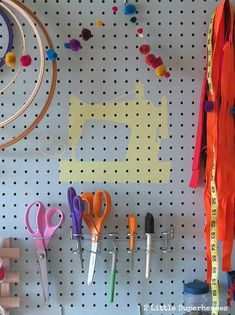 Sewing Room Pegboard sewing machine stencil from Silhouette file | www.2LittleSuperheroes.com #sewingmachine #pegboard