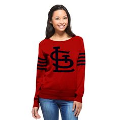 '47 Brand St. Louis Cardinals Women's Red Drop Needle Sweater