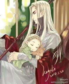 Père elfe avec son enfant