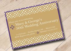 Golden Anniversary Invitation by areUin on Etsy, $15.00