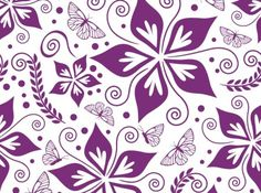Purple Butterfly flower background vector material