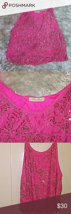 Chelsea Flowers Crop Top Gorgeous Barbie-pink crop top with adjustable straps as pictured. Hand beaded. Worn a few times but still in good condition. Dry cleaned and kept in garment bag. Purchased from Neiman Marcus Las Vegas. Chelsea Flower Tops Crop Tops