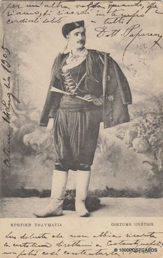 GREECE - Costume Crétois 1905 Past, Greece, Costume, Movie Posters, Photos, Black Photography, Black White, Costumes, Colors