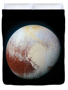 Space Duvet cover / bedding: Pluto, impressive NASA high resolution image, carefully enhanced for better clarity and more vivid colors. Available in king, queen, full, and twin. Our soft microfiber duvet covers are hand sewn and include a hidden zipper for easy washing and assembly. All duvet covers are machine washable with cold water and a mild detergent. Image Credit: NASA/JHUAPL/SwRI, Edit Matthias Hauser hauserfoto.com