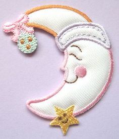 Moon - Star - Baby Design - Embroidered Iron On Applique Patch