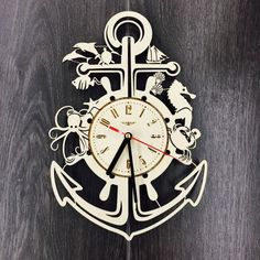 Living Room Ornaments, Marine Gifts, Laser Cutter Ideas, Handmade Clocks, Wall Watch, How To Make Wall Clock, Wooden Wall Art, Wall Wood, Wood Clocks
