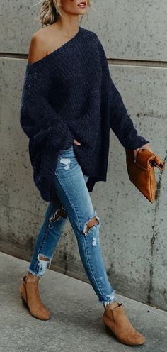 Men Winter Fashion 385057836890021613 - One Shoulder Loose Fitting Plain Sweaters – hellocloth Source by Fashion Mode, Look Fashion, Winter Fashion, Womens Fashion, Fashion Trends, Ladies Fashion, Fashion Ideas, Fashion 2016, Feminine Fashion