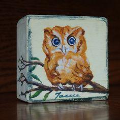 Owl Painting / Miniature Art /  Baby Owl by WoodArtBlocks on Etsy