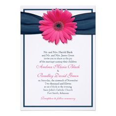 Pink Gerbera with Navy Ribbon Wedding Invitation