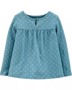 Polka Dot Jersey Top | carters.com Baby Girl Tops, Carters Baby Girl, Polka Dot Fabric, Polka Dots, Boy Shoes, Up Styles, Long Sleeve Shirts, Girl Outfits, Clothes