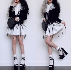 Here's a photo I took last week since I didn't have time today or yesterday to take one (at least it's a new ootd)! I stayed in yesterday… Pastel Goth Outfits, Edgy Outfits, Cute Casual Outfits, Girl Outfits, Fashion Outfits, Harajuku Fashion, Kawaii Fashion, Lolita Fashion, Cute Fashion