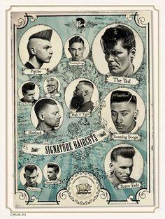 Vintage Hairdresser Tattoos Pattern Poster Kraft Paper Wall Sticker Barber Shop for sale online Rockabilly Hair, Rockabilly Fashion, Rockabilly Style, Psychobilly, Vintage Hairdresser, Hairdresser Tattoos, Pelo Retro, Barber Shop Decor, Vintage Tattoos