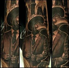 This detailed plague doctor by Stephanie Chilindrina. #inked #inkedmag #plaguedoctor #plague #doctor #horror #tattoo