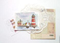 """Купить Набор открыток """"Маяки"""" (часть 2) - чёрно-белый, море, маяки, открытки, почта"""