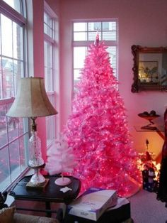 Pink tree with pink lights.