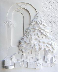 Christmas Tree - Paper Illustration by Marina Adamova