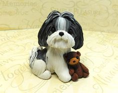 Gold Parti Shih Tzu with Roses accent Cream Silver and white
