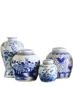 """- Blue & White Ceramic Ginger Jar, 10"""" Country Landscape - painted blue and white ceramic - featuring a classic ginger jar shape and Chinoiserie style with a country landscape scene - excellent qualit"""