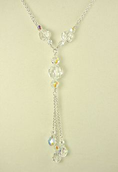 Swarovski Crystal Tassel Necklace - Clear AB Unique Handmade Jewelry