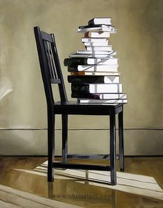Christopher Stott, stack of books Love Art Images, Stack Of Books, Still Life Art, Light And Shadow, Oeuvre D'art, Dining Room Table, Lovers Art, Room Interior, Architecture Design