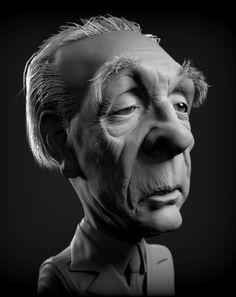 Borges todo el año: Jorge Luis Borges: H.O. - Imagen:  Borges en caricatura de León Antthony Enriquez, 2014