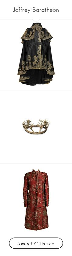 """Joffrey Baratheon"" by satinelilly ❤ liked on Polyvore featuring outerwear, jackets, coats, cape, women, alexander mcqueen cape, cape coat, alexander mcqueen, jewelry and rings"