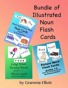 Bundle of Flash Cards for 224 Words with Pictures - Pre K - K - 1 - 2 Color & BW FREE Sample of Picture Word Flash Cards k-1 -2