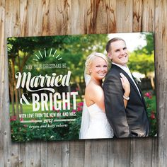 Newlywed Christmas Card: Married and Bright, Photo, Holiday Card, Printable, Custom, Wedding on Etsy, $15.00