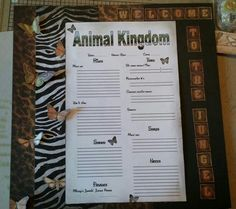Animal kingdom scrapbook page Animal Kingdom, Scrapbook Pages, Letter Board, Bullet Journal, Lettering, Animals, Animales, Animaux, Drawing Letters