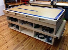 Workbench/Clamping Table/Holes on side to run tension tie downs Workshop Storage, Workshop Organization, Tool Storage, Workshop Ideas, Metal Workshop, Lumber Storage, Workbench Plans, Woodworking Workbench, Woodworking Tips
