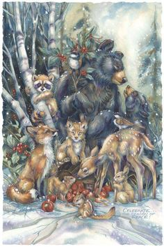 Jody Bergsma - Gallery Press :: Paintings :: Natural Elements :: Wild Land Animals :: Small Mammals :: Celebrate The Season Of Peace - Prints Art And Illustration, Christmas Illustration, Illustrations, Christmas Animals, Christmas Art, Winter Christmas, Vintage Christmas Cards, Christmas Pictures, Image Deco