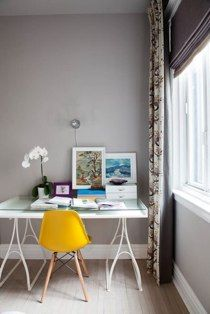 yellow + lavender in desk space by Marc Gold