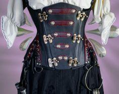 "26"" waist  Steampunk UnderBust Explorer Corset Veggie Leather 'Spy Mistress'"