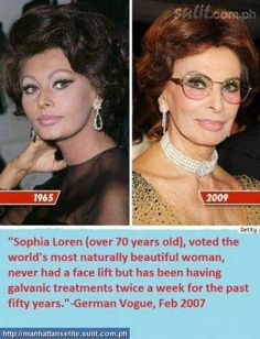 Galvanic spa technology used by sophia proves that surgery can be avoided. Sophia Loren, Galvanic Spa, Italian Actress, Naturally Beautiful, Best Actress, Plastic Surgery, Genetics, Anti Aging, Beautiful Women
